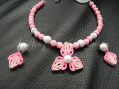 Paper beads necklace with matching earring - Quilling Cafe