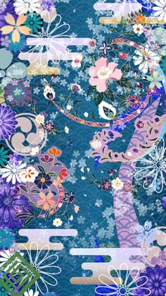 New iPhone Wallpaper Japanese Patterns, Japanese Prints, Japanese Design, Japanese Tumblr, Cherry Blossom Wallpaper, Scrapbook Images, Teal Art, Pretty Wallpapers, Iphone Wallpapers
