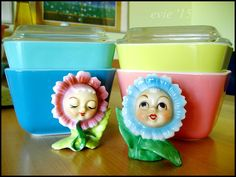 Pyrex with vintage anthropomorphic shakers --Evie'15