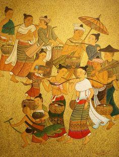 Thai Lanna (วิถีไทยล้านนา) Painting Collage, Artist Painting, Thai Pattern, Thai Design, Thailand Art, Thai Art, Indochine, Thai Style, Chinese Art