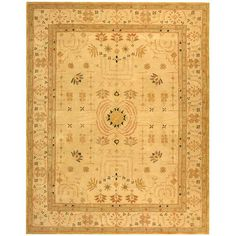 This traditional rug with hand-spun wool offers old world feel to a fresh new design. The hand-spun area rug with a sand background.