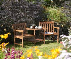 Chic Hampton Companion 3 Piece Conversation Set by Rowlinson Patio Garden Furniture from top store Patio Furniture Sets, Garden Furniture, Furniture Price, Furniture Decor, Wooden Garden Chairs, Garden Seating, 3 Piece Dining Set, Thing 1, Outdoor Living