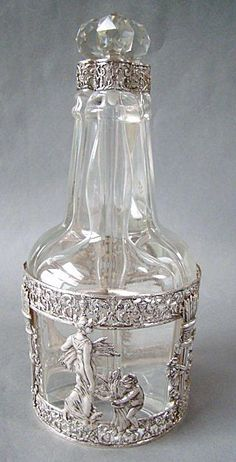 Rare Antique French Empire Sterling Silver  Glass Decanter Set Tantalus
