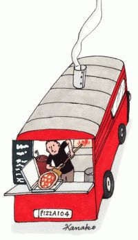 My Little Paris, Kanako illustration History Of Pizza, Pizza Vans, Pizza Truck, Paris Illustration, My Little Paris, Paris Pictures, Little Boxes, Illustrations And Posters, Cute Drawings