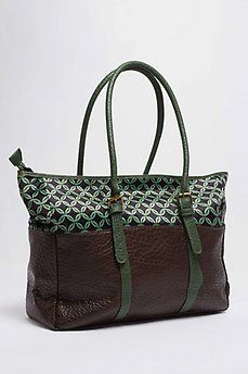 Bolso shopper tela estampada verde
