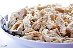 Easy Slow Cooker Shredded Chicken   gimmesomeoven.com