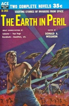 ED EMSHWILLER - art for The Earth in Peril by Donald A. Wollheim - 1957 Ace Double D-205 paperback