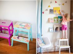 DIY colorful stools with paint and wallpaper + one for Asher and use as bedside table