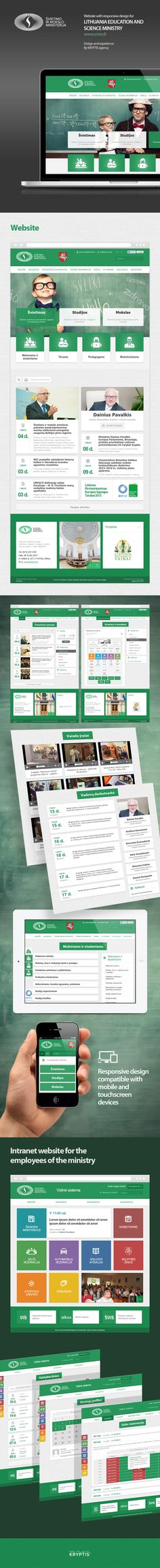 Responsive design website for the Ministry of Education by KRYPTIS digital agency, via Behance