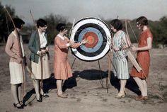Texas women attend an archery class at the University of Texas (autochrome circa 1920s-30s)