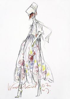 Fashion illustration - floral print dress, fashion drawing for Wunderkind // Wolfgang Joop