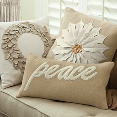Christmas Pillows...love the neutral colors.