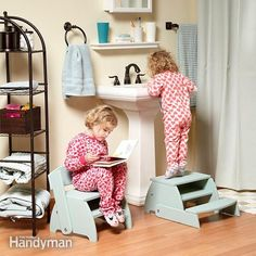 you'll find plenty of uses for a flip-flop stool. with the  back swung up, it's the perfect chair for little kids to plunk down on. with the back swung down, it's the perfect step stool for reaching slightly-out-of-reach faucets, shelves and cabinets—for kids of all ages.