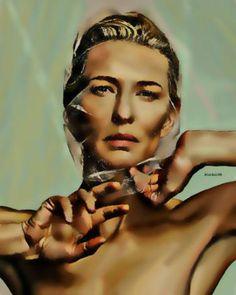 "Saatchi Art Artist ACQUAeLUNA Art; Painting, ""39-Cate Blanchet XXXIX."" #art Cate Blanchett, Green Art, Art Images, Saatchi Art, Original Paintings, Wonder Woman, Statue, Art Prints, The Originals"