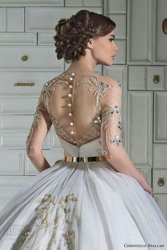 chrystelle atallah bridal spring 2014 ball gown wedding dress illusion sleeves overskirt back view close up I absolutely love this! This is my dream dress 😭❤️ Wedding Dresses 2014, Wedding Attire, Bridal Dresses, Wedding Gowns, Prom Dresses, Wedding Flowers, Illusion Dress, Beautiful Gowns, Dream Dress