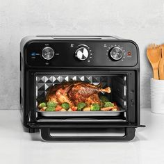 null Fry, bake, toast, and broil with the Kalorik 22 quart air fryer and toaster oven. This innovative and multi functional appliance uses rapid hot air technology to cook food faster, and make meals healthier. The air frying mechanism works by circulating super hot air around your food. This delivers the same crispy texture and rich flavor of your favorite fried foods  with little to no oil. That means less fat and calories! The Kalorik 22 quart air fryer & toaster oven not only functions… Oven Chicken Recipes, Oven Recipes, Kalorik Air Fryer, Grilled Cheese In Toaster, Oven Canning, Baked Vegetables, Air Frying, Fries In The Oven, How To Cook Chicken