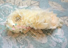 Flower girl headband Ivory Cream Birdcage Feather by HappyBOWtique