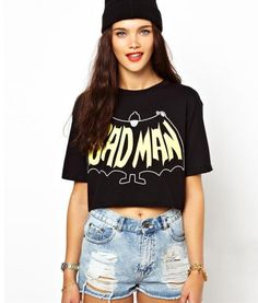 "Crop Top ""Bad Man"" - S - NOWY"