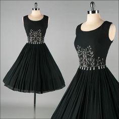 Vintage 1950s Dress . ELINOR GAY . black by millstreetvintage, $385.00