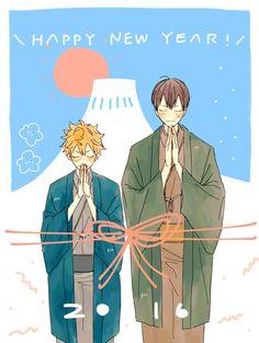 Haikyuu!! (ハイキュー!!) - Shouyou Hinata & Tobio Kageyama - Happy New Year! 2016 -「二 〇 十 六」/「お み そ」のイラスト [pixiv]