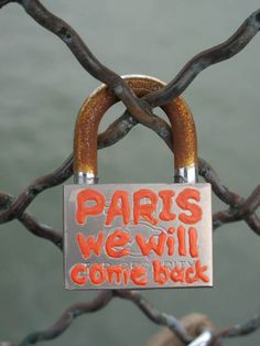 One of the love locks on Le Pont des Arts in Paris