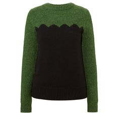 Orla Kiely: Mohair/Silk/Merino wool blend warm and cosy sweater with a scallop detail on front.    Length: 25.2in (from high shoulder point)