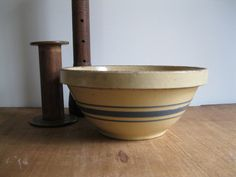 New Item! Vintage Yellow-ware Stoneware Mixing Bowl Medium Nesting Blue Stripes - Farmhouse Kitchen Vintage Patina...Reshopgoods by Reshopgoods on Etsy