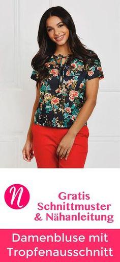 Freebook - Damenbluse mit kurzen Ärmeln und Tropfenausschnit ❤ Gr. 38 - 54 ❤ PDF zum Ausdrucken ❤ Gratis Schnittmuster ✂ Nähtalente.de ✂ -- Free Sewing pattern for a womans top in size 6 - 22.