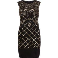 Black stud print dress ($39) ❤ liked on Polyvore