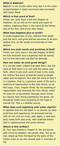 Baptism from Luther's Small Catechism~Why we baptize babies. What Is Baptism, Protestant Reformation, Connecting With God, Catechism, Lutheran, Word Of God, Sunday School, Gods Love, Ministry