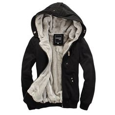 Multi-Button Patch Pocket Zipper Design Slimming Hooded Long Sleeves Flocky Hoodie For Men Fleece Hoodie, Hoodie Jacket, Fleece Jackets, Bomber Jackets, Jean Jackets, Cheap Mens Fashion, Men's Fashion, Fashion Coat, Fashion Suits