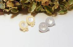 Your place to buy and sell all things handmade Soutache Earrings, Pearl Earrings, Grey And White, Gray, Jewelry Design, Unique Jewelry, Embroidery Techniques, Gifts For Women, Vanilla