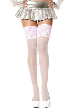 White Heart Lace Top Seamed Stockings Opaque Alice in Wonderland Music Legs