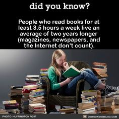 People who read books for at least 3.5 hours a week live an average of two years longer (magazines, newspapers, and the Internet don't count). Source