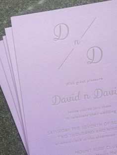 David and David – letterpress wedding invitation. Grey ink on lavender Colorplan heavy card. Custom wedding stationery designed and letterpress printed in-house on an antique printing press with love and care. Modern Wedding Stationery, Luxury Wedding Invitations, Letterpress Wedding Invitations, Letterpress Printing, Custom Map, Printing Press, Stationery Design, Paper Goods, Custom Design