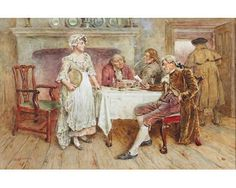 Artwork by George Goodwin Kilburne, Checking the bill, Made of Watercolour and pencil heightened with white