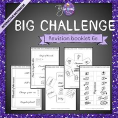 Revisions for the Big Challenge made fun and easy! This resource is a great project I've worked on for weeks. And it's not finished yet, but I couldn't resist sharing it with you!Elementary students often stress the Big Challenge and they often lose confidence, just before the test.So here is an Interactive Notebook Bundle for the Big challenge in 6e.