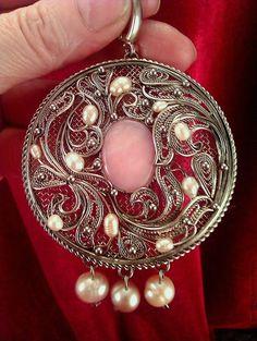 """Купить Серьги с опалом и жемчугом """"Ангелина"""" - бледно-розовый, бижутерия с камнями, бижутерия авторская"""