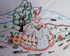 VINTAGE HAND EMBROIDERED CRINOLINE LADIES LINEN TABLECLOTH