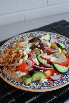 Simple Greek Salad _ If you're trying to up your veggie intake this is a great way to do so!