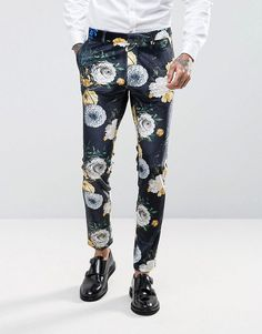 Asos Super Skinny Suit Pants In Navy Velvet With Bright Floral Print Navy Dress Pants, Mens Dress Pants, Suit Pants, Blue Pants, Trousers, Mens Stretch Pants, Stretch Dress Pants, Floral Print Pants, Printed Pants