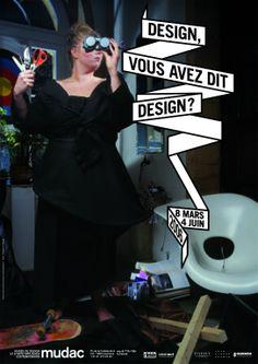 "Poster ""Design, vous avez dit design ?"" for an exhibition at Mudac, Lausanne"