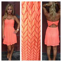 Neon Coral Textured Strapless Dress