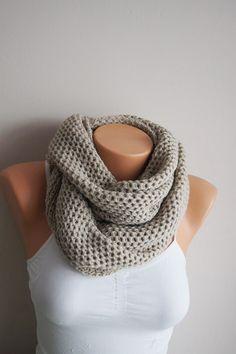 Ecru Beige Men's Women's scarves Infinity scarf, circle scarf, Cowl scarf, loop scarf, men scarves, Scarf Neck Warmer