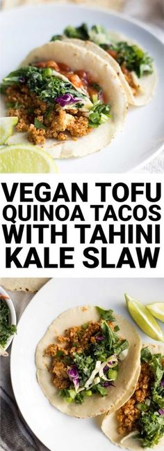 Vegan Tofu Quinoa Tacos with Tahini Kale Slaw: A vegan and gluten free taco recipe that's full of protein, veggies, and flavor! An easy weeknight dinner. || fooduzzi.com recipe