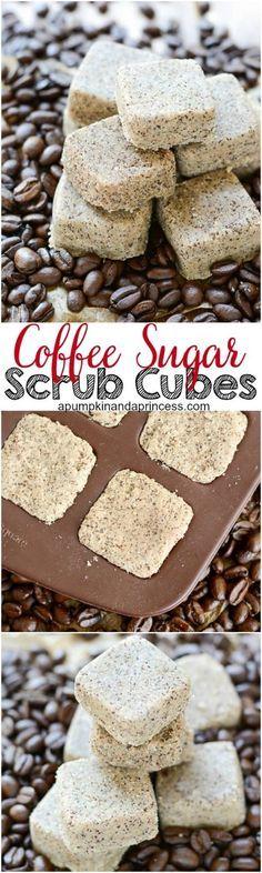 coffee sugar scrub cubes Sugar Scrub Cubes, Sugar Scrub Recipe, Sugar Scrub Diy, Sugar Scrubs, Salt Scrubs, Diy Body Scrub, Diy Scrub, Homemade Scrub, Homemade Soaps