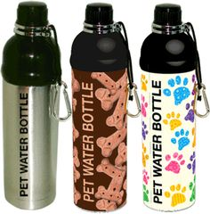 "A MUST HAVE for dog parents. These feature a ""Hamster Ball"" for NO SPILL results! Various prints, Small or Large. Take in the car, on road trips, dog park or where ever! Pet Water Bottle, Water Bottles, Pet Dogs, Pets, Dog Park, Dog Walking, Your Pet, Stainless Steel, Pet Stuff"