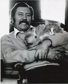 """Actor James Beck from """"Dad's Army"""" at his home in Sheen sitting with his cat, Fred. James Beck, Dad's Army, British Sitcoms, Boys Are Stupid, Actor James, Guide Dog, Cat People, Cat Life, Fun To Be One"""
