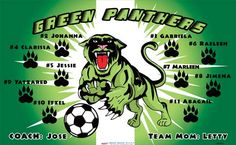 Green Panthers B54795  digitally printed vinyl soccer sports team banner. Made in the USA and shipped fast by BannersUSA.  You can easily create a similar banner using our Live Designer where you can manipulate ALL of the elements of ANY template.  You can change colors, add/change/remove text and graphics and resize the elements of your design, making it completely your own creation.