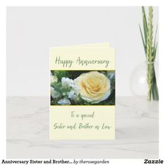 Anniversary Sister and Brother in Law Yellow Rose Card Online Greeting Cards, Custom Greeting Cards, Christmas Card Holders, Christmas Cards, Happy Anniversary Cards, Yellow Roses, Zazzle Invitations, Thoughtful Gifts, Great Gifts